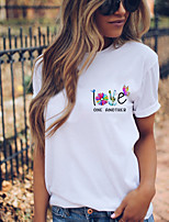 cheap -Women's T shirt Floral Graphic Skull Print Round Neck Tops 100% Cotton Basic Basic Top White Rainbow