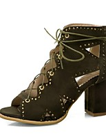cheap -Women's Sandals Lace up Summer Boots Chunky Heel Peep Toe PU Synthetics Black Green Brown