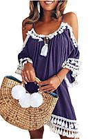 cheap -2018 women's dress wish amazon hot summer halter neck tassel pure color off-shoulder jumpsuit skirt