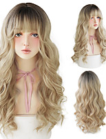 cheap -Lolita Wigs With Bangs Omber Blonde Long Deep Wave Wigs For Women Noble Blonde Heat Resistant Synthetic Cosplay Wig