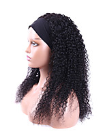 cheap -Headband Wig Human Hair Curly Headband Wig Glueless None Lace Front Kinky Curly Headband Wigs Human Hair Wigs for Black Women 12-30  Inch Natural Color