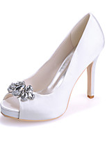 cheap -Women's Wedding Shoes Stiletto Heel Peep Toe Satin Rhinestone Solid Colored White Purple Red