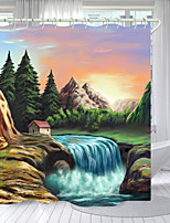 cheap -Beautiful Mountains And Rivers Digital Printing Shower Curtain Shower Curtains Hooks Modern Polyester New Design