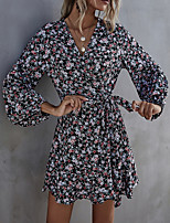 cheap -Women's A Line Dress Short Mini Dress Black Long Sleeve Floral Patchwork Print Summer V Neck Elegant Casual 2021 S M L XL