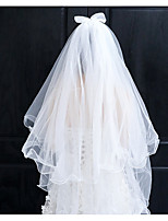 cheap -Two-tier Cute Wedding Veil Elbow Veils with Solid 27.56 in (70cm) Lace / Tulle