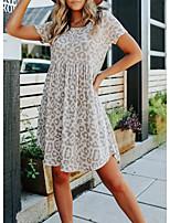 cheap -amazon cross-border european and american women's 2021 summer new leopard print short-sleeved printed round neck waist short skirt dress