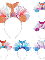 cheap -rainbow color mermaid headband european and american children's party hair accessories princess mermaid net yarn flower animal hair accessories