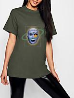 cheap -Women's T shirt Graphic Portrait Print Round Neck Tops 100% Cotton Basic Basic Top Black Army Green