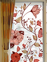 cheap -Plants Flowers Pattern Matte Window Film Cling Vinyl Thermal-Insulation Privacy Protection Home Decor For Window Cabinet Door Sticker Window Sticker - 116*60CM