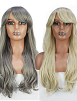 cheap -Cosplay Costume Wig Synthetic Wig Cosplay Wig Wavy Neat Bang Wig Light Blonde Grey Synthetic Hair Women's Heat Resistant Classic Natural Hairline Mixed Color