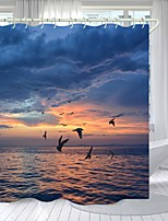 cheap -Big Goose Flying South Digital Printing Shower Curtain Shower Curtains  Hooks Modern Polyester New Design
