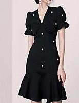 cheap -Mermaid / Trumpet Little Black Dress Elegant Homecoming Cocktail Party Dress V Neck Short Sleeve Short / Mini Spandex with Pearls 2021