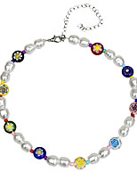 cheap -Women's Choker Necklace Beaded Necklace Colorful Holiday Cute Sweet Cord Pearl Glass Picture color 31 cm Necklace Jewelry 1pc For Gift Prom Birthday Party Beach Festival / Pearl Necklace