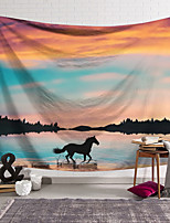 cheap -Wall Tapestry Art Decor Blanket Curtain Hanging Home Bedroom Living Room Decoration Polyester Sunset Clouds Horse Lake Water Running