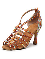 cheap -Women's Latin Shoes Heels High Heel Crystal / Rhinestone High Heel Open Toe Dark Brown White Black Buckle Glitter Crystal Sequined Jeweled / Satin / Satin / Silk