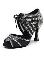 cheap -Women's Latin Shoes Heels Classic & Timeless Crystal / Rhinestone Crystal Heel High Heel Open Toe Black Ribbon Glitter Crystal Sequined Jeweled / Satin / Satin / Silk / Professional