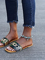 cheap -Women's Sandals Flat Heel Square Toe PU Button Striped Leopard Black Green