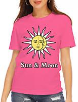 cheap -Women's T shirt Graphic Text Print Round Neck Tops Basic Basic Top Blue Blushing Pink Green