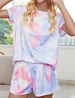 cheap -Women's Home Polyester everyday Scoop Neck Loungewear Short Sleeve Print Spring & Summer Tie Dye S 1