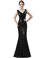 cheap -Mermaid / Trumpet Glittering Sexy Wedding Guest Prom Dress V Neck Sleeveless Floor Length Sequined with Sequin 2021