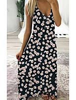 cheap -Women's Strap Dress Maxi long Dress Black Yellow Green Sleeveless Floral Print Spring Summer V Neck Casual 2021 S M L XL XXL