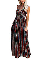 cheap -biubiu women's summer sexy v neck boho halter beach dresses party bowknot blackless maxi dress with pocket (x-large, color stripes)