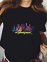 cheap -Women's Cyberpunk 2077 T shirt Graphic Letter Print Round Neck Tops 100% Cotton Basic Basic Top Black Yellow