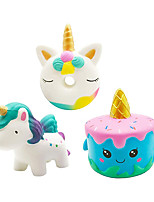 cheap -3PCS Jumbo Squishies Kawaii Narwhale Cake Unicorn Donut Star Galaxy Cream Scented Slow Rising Squishy Soft Toy for Stress Relief Gift Decorative Props