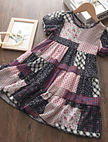 cheap -Kids Little Girls' Dress Solid Colored Patchwork Purple Sleeveless Basic Cute Dresses Regular Fit