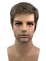 cheap -Natural Men's Short Brown mix Silver Natural Synthetic Full Wig