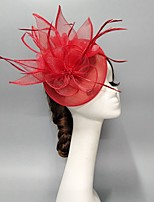 cheap -Feathers / Net Fascinators / Hats / Headpiece with Feather / Cap / Flower 1 PC Wedding / Horse Race Headpiece