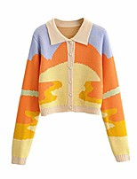cheap -women's lapel button down long sleeve cable knit cardigan sweaters oil painting print outerwear tops (apricot, s)