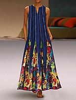 cheap -Women's Swing Dress Maxi long Dress White Black Blue Red Green Sleeveless Print Color Gradient Geometric Print Summer V Neck Casual 2021 S M L XL XXL 3XL 4XL 5XL