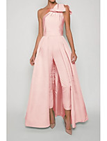 cheap -Jumpsuits Beautiful Back Sexy Engagement Formal Evening Dress One Shoulder Sleeveless Floor Length Stretch Fabric with Bow(s) Pleats Split 2021