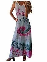 cheap -women's tank maxi dress,casual loose long dress sleeveless maxi dresses o neck tie dye beach boho long dress sundress gray