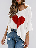 cheap -Women's Stylish Knitted Geometric Pullover 3/4 Length Sleeve Sweater Cardigans V Neck Fall Spring Almond White