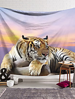 cheap -Wall Tapestry Art Decor Blanket Curtain Hanging Home Bedroom Living Room Decoration Polyester Tiger Lying Down in the Sunset