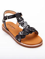 cheap -Girls' Sandals Roman Shoes PU Lace up Little Kids(4-7ys) Big Kids(7years +) Daily Home Buckle Braided Strap Black Summer