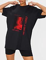 cheap -Women's T shirt Graphic Letter Print Round Neck Tops 100% Cotton Basic Basic Top Black