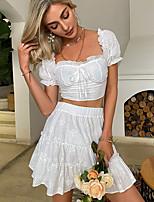 cheap -Women's Basic Streetwear Plain Vacation Casual / Daily Two Piece Set Crop Top Shirred Cami Top Skirt Ruffle Tops