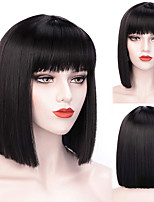cheap -Short Bob Wig With Bangs for Women Synthetic Bob Wigs Black Pink Purple Wig for Party Daily Use Shoulder Length
