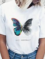 cheap -Women's T shirt Graphic Butterfly Dandelion Print Round Neck Tops 100% Cotton Basic Basic Top White Black Blue