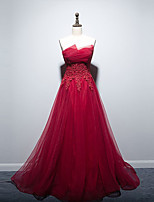 cheap -A-Line Empire Floral Engagement Formal Evening Dress Strapless Sleeveless Floor Length Tulle with Appliques 2021