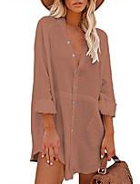 baratos -minivestido rosa queen feminino ombro manga comprida casual blusa de botão túnica bolsos camisa cáqui xl