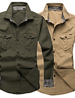 cheap -Men's Hiking Jacket Hiking Shirt / Button Down Shirts Long Sleeve Shirt Coat Top Outdoor Quick Dry Lightweight Breathable Sweat wicking Autumn / Fall Spring Summer Camo / Camouflage Army green (821