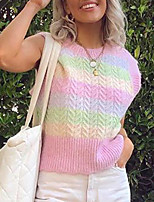 cheap -Women's Embroidery Knitted Striped Vest Sleeveless Sweater Cardigans Crew Neck Fall Spring Blushing Pink
