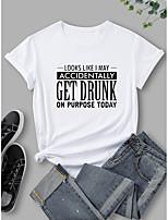cheap -Women's T shirt Graphic Print Round Neck Tops 100% Cotton Basic Basic Top White Blue Purple