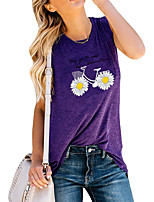 cheap -Women's Holiday Tank Top Graphic Daisy Letter Print Round Neck Tops Basic Basic Top Blue Purple Light gray / Going out