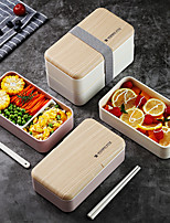 cheap -Double-layer Lunch Box Microwave Nordic Style Wooden Lid Office School Student Lunch Box Portable Plastic Lunch Box
