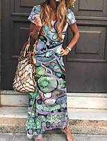 cheap -Women's Sheath Dress Maxi long Dress Purple Yellow Green Short Sleeve Floral Print Print Spring Summer V Neck Boho 2021 S M L XL